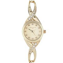Infinite - Ladies gold crystal cross over watch
