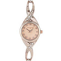 Infinite - Ladies rose gold crystal cross over watch