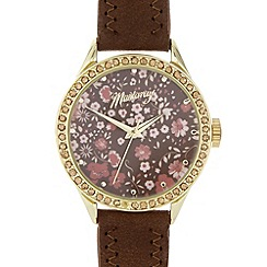 Mantaray - Ladies brown floral dial watch