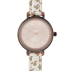 Mantaray - Ladies white rabbit print coin bezel watch