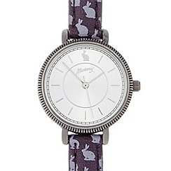 Mantaray - Ladies purple rabbit print coin bezel watch
