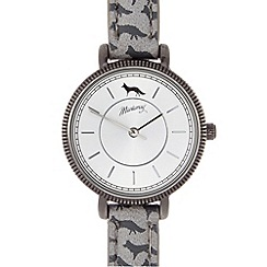 Mantaray - Ladies grey fox print coin bezel watch