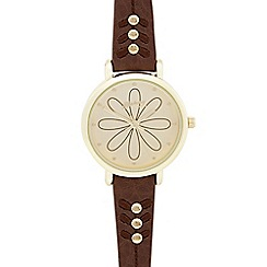 Mantaray - Ladies brown etched flower dial watch