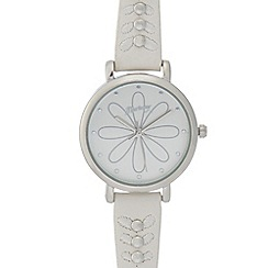 Mantaray - Ladies white etched flower dial watch