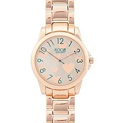 Floozie by Frost French - Ladies rose gold heart round watch