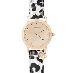 Red Herring - Ladies rose gold leopard charm watch