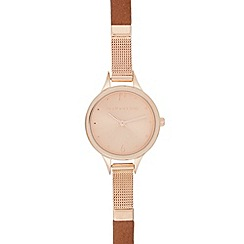 Red Herring - Ladies brown mixed mesh skinny strap watch