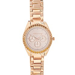 Red Herring - Ladies rose gold plated crystal bezel watch