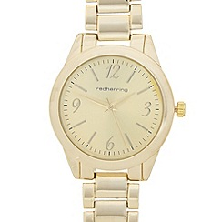Red Herring - Ladies gold plated iridescent dial watch