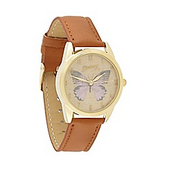 Mantaray - Ladies tan butterfly watch