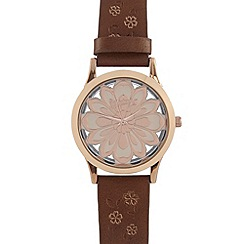 Mantaray - Ladies brown floral transparent dial watch
