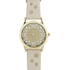 Mantaray - Ladies white floral transparent dial watch