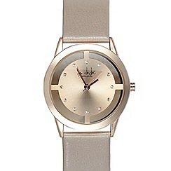 Principles by Ben de Lisi - Ladies designer pale pink leather transparent case watch