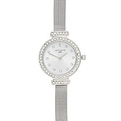Infinite - Silver crystal bar lug mesh watch