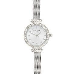Infinite - Silver crystal bar lug mesh watch