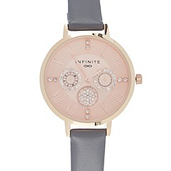 Infinite - Ladies grey plated crystal multi dial watch