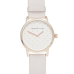 Red Herring - Ladies light pink pastel polka dot dial watch