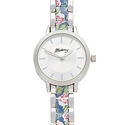 Mantaray - Ladies silver colourful print link bracelet watch
