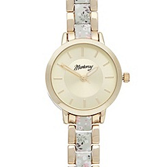 Mantaray - Ladies gold colourful print link bracelet watch