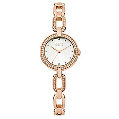 Oasis - Ladie's rose gold bracelet with stone set bezel