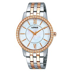 Lorus - Ladies Lorus Sparkle Collection two tone bracelet watch with MOP dial