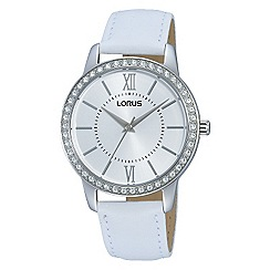 Lorus - Ladies Lorus Sparkle Collection white leather strap watch