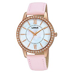 Lorus - Ladies Lorus Sparkle Collection light pink leather strap with with MOP dial