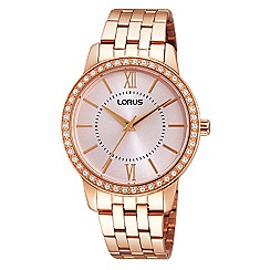 Lorus - Ladies Lorus Sparkle Collection rose gold bracelet watch with subtle soft pink dial