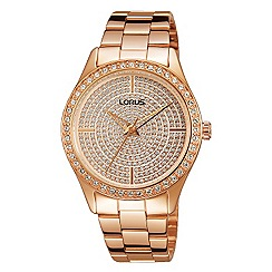 Lorus - Ladies Lorus Sparkle Collection rose gold pave dial bracelet watch