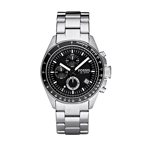 Fossil - Men+s silver chronograph dial bracelet watch ch2600ie