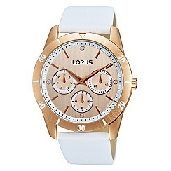 Lorus - Ladies Lorus Sparkle Collection white leather strap multidial watch