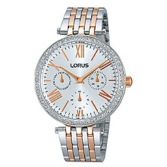 Lorus - Ladies Lorus Sparkle Collection two tone rose gold/silver multidial bracelet watch