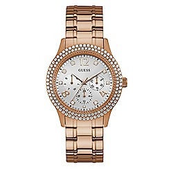 Lorus - Ladies Lorus Sparkle Collection rose gold multi dial bracelet watch with peach sunray dial