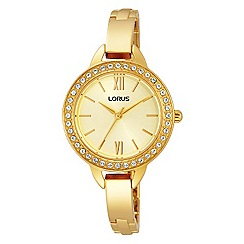 Lorus - Ladies Lorus Sparkle Collection gold bracelet watch with stones on bezel