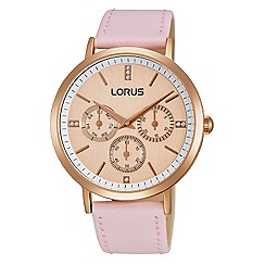 Lorus - Ladies Lorus Sparkle Collection pink leather strap multidial watch
