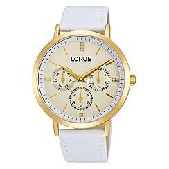 Lorus - Ladies Lorus Sparkle Collection white leather strap gold case multidial watch