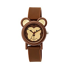 Tikkers - Tikkers brown silicone strap monkey watch