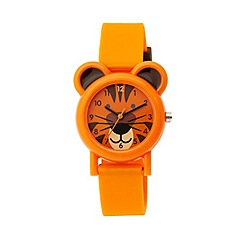 Tikkers - Tikkers orange silicone strap tiger watch