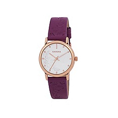 Kahuna - Ladies berry coloured embossed strap watch