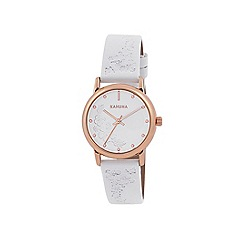 Kahuna - Ladies white embossed strap watch