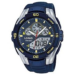 Lorus - Mens blue Ana/Digi silicone strap watch
