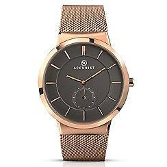 Accurist - Men's rose gold plated Milanese bracelet grey dial watch 7016.01