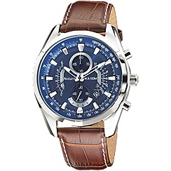 Accurist - Gents brown leather strap chronograph watch