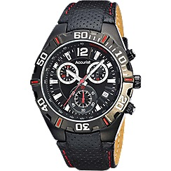 Accurist - Gents black leather strap chronograph watch