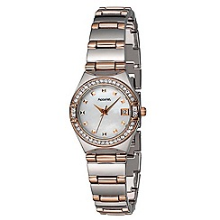 Accurist - Ladies rose gold and silver tone stone set bracelet watch