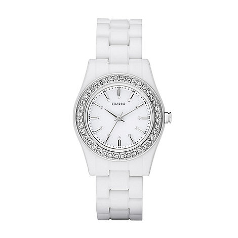 DKNY - Ladies white diamante bezel bracelet watch