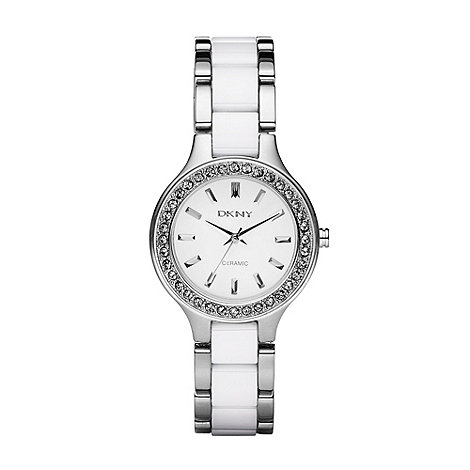 DKNY - Ladies silver diamante bezel bracelet watch