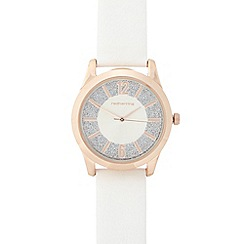 Red Herring - Ladies white glitter analogue watch