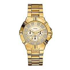 Guess - Ladies gold diamante dial watch