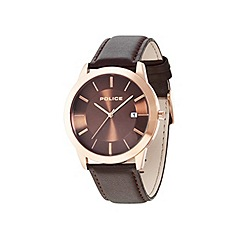 Police - Mens brown dial brown leather strap watch